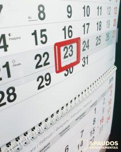 Darbo kalendorius 2020 | Spaudos Departamentas
