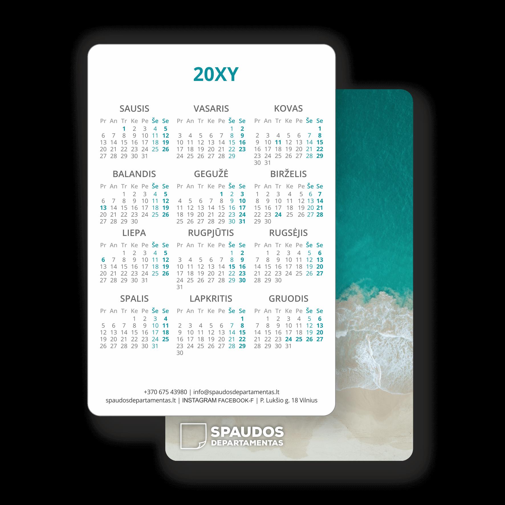 2020 kišeninis kalendorius