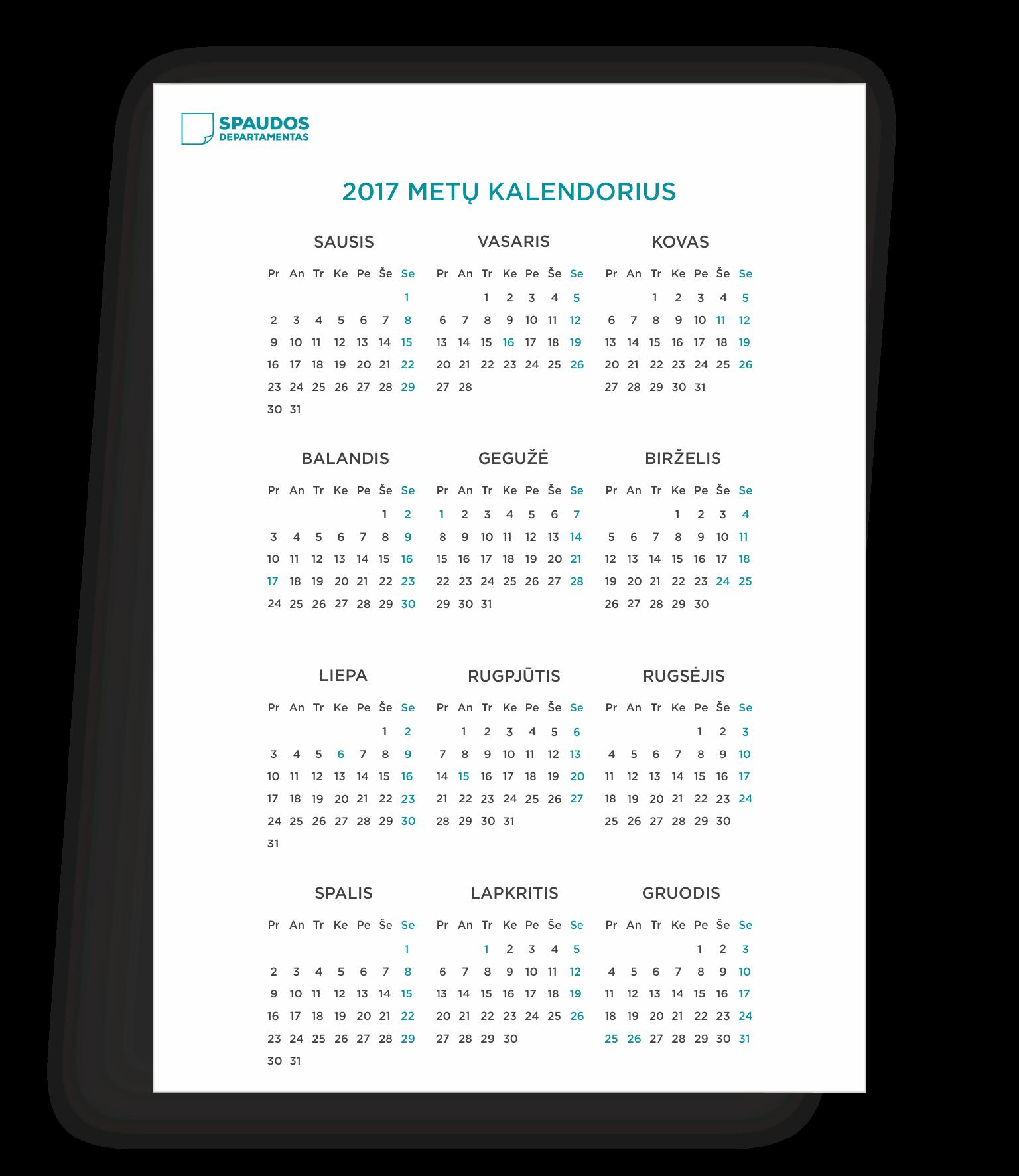 2017 kalendorius šablonas