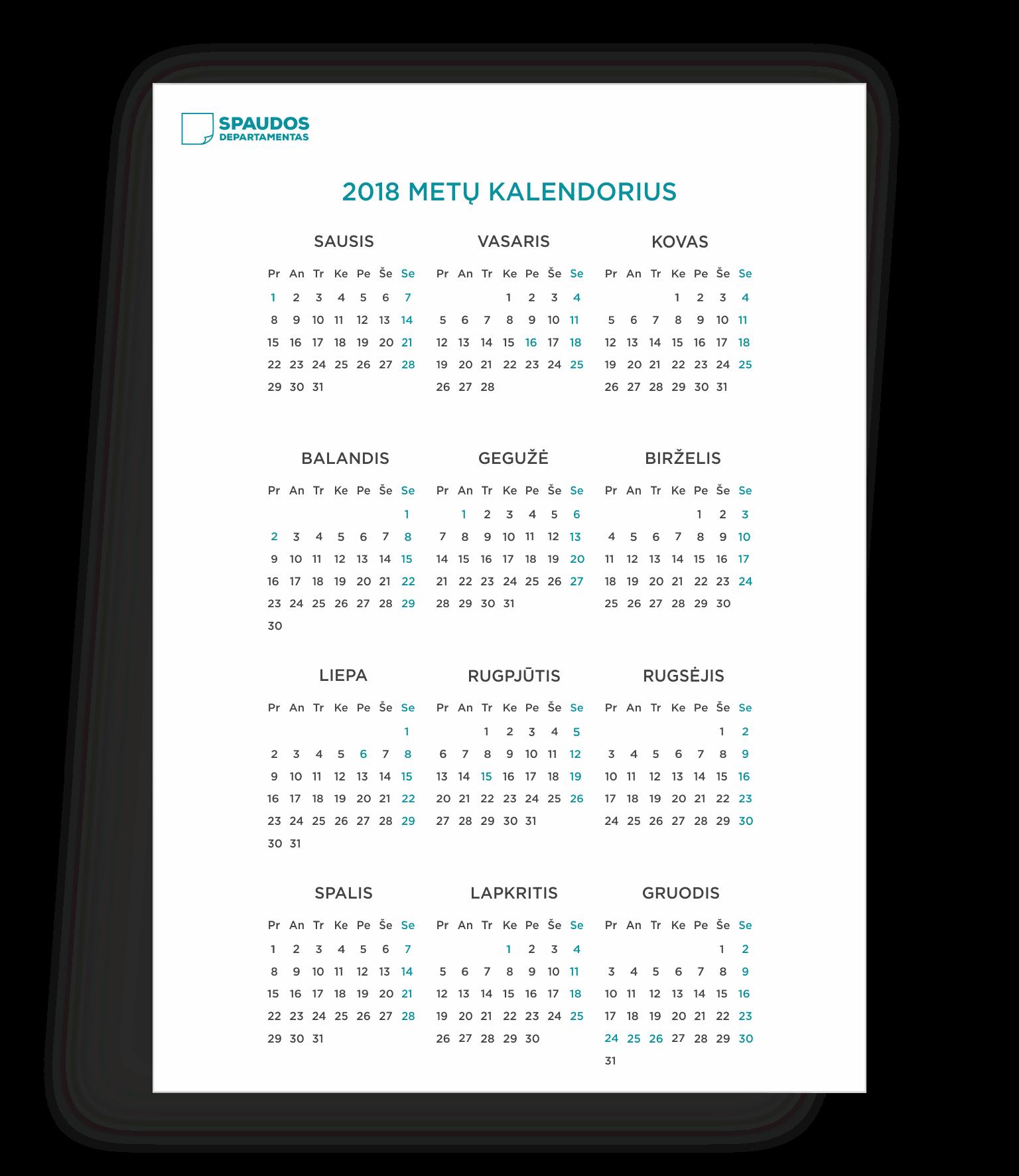 2018 kalendorius šablonas