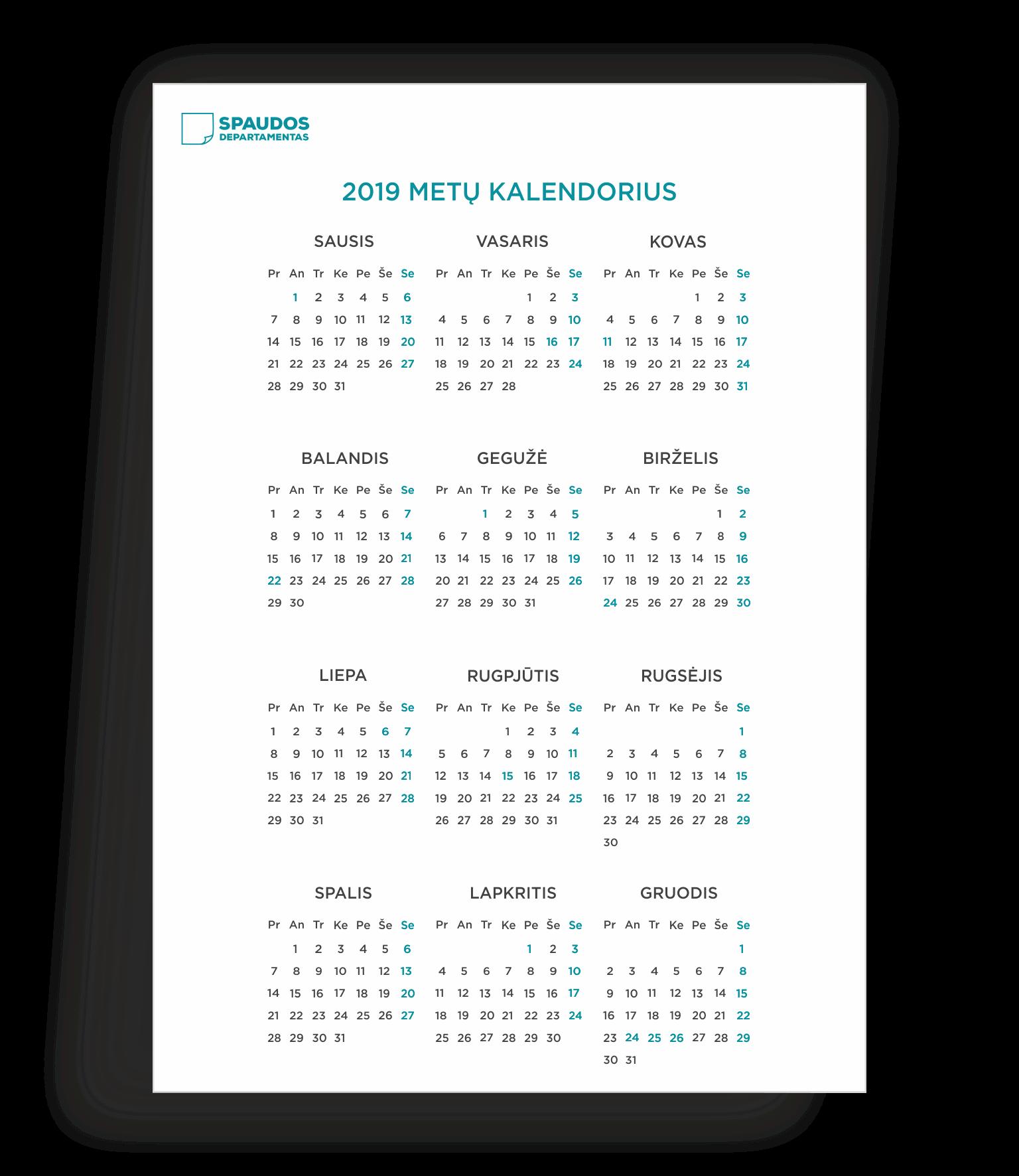 2019 kalendorius šablonas