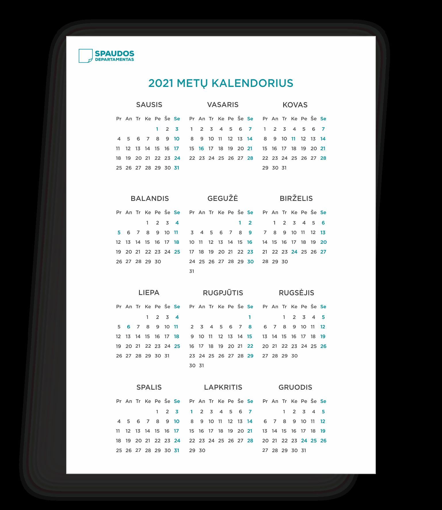 2021 kalendorius šablonas